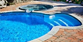Home swimming pool up close
