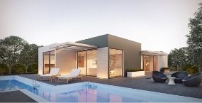 beautiful house at dusk with nice stockton swimming pool in backyard